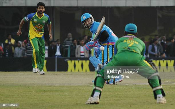 Bollywood actor Aftab Shivdasani player of Mumbai Heros in action against Kerala Striker during the Celebrity Cricket League season 3 at JCA...