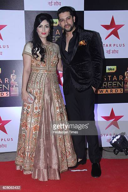 Bollywood actor Aftab Shivdasani with Nin Dusanj during the 23rd Annual Star Screen Awards 2016 on December 4 2016 in Mumbai India