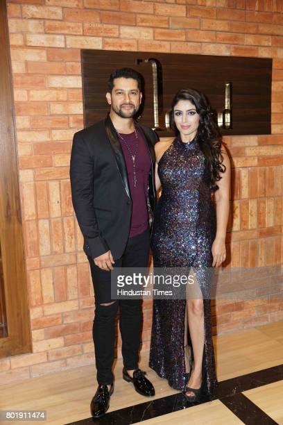 Bollywood actor Aftab Shivdasani with wife Nin Dusanj during his birthday party at the Taj Lands End Hotel in Bandra on June 25 2017 in Mumbai India