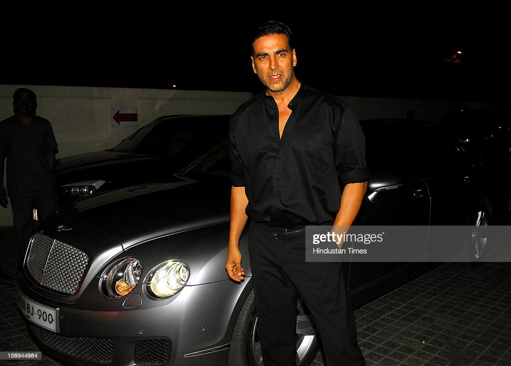 Bollywood actor Akshay Kumar attending special screening hosted by Ritesh Deshmukh for his first home production Marathi film 'Balak Palak' at PVR Juhu on January 2, 2012 in Mumbai, India.