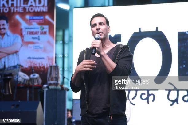 Bollywood actor Akshay Kumar during the 4th season finale of Hindustan Times Friday Jam to promote upcoming film 'Toilet Ek Prem Katha' in Cyber Hub...