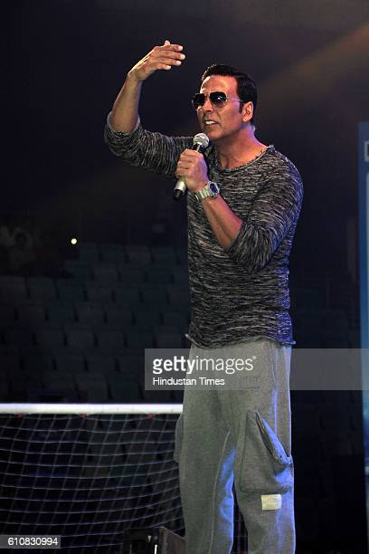 Bollywood actor Akshay Kumar during the grand opening ceremony of HT GIFA2016 at Thyagaraj Stadium on September 24 2016 in New Delhi Akshay made a...