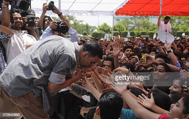 Bollywood actor Akshay Kumar meets with fans during the promotional event of his upcoming movie Gabbar is Back in SGT University on April 24 2015 in...