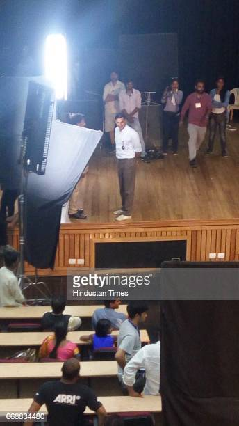 Bollywood actor Akshay Kumar spotted shooting for director R Balki's film Padman inside Terminal 3 of Indira Gandhi International Airport on April 12...