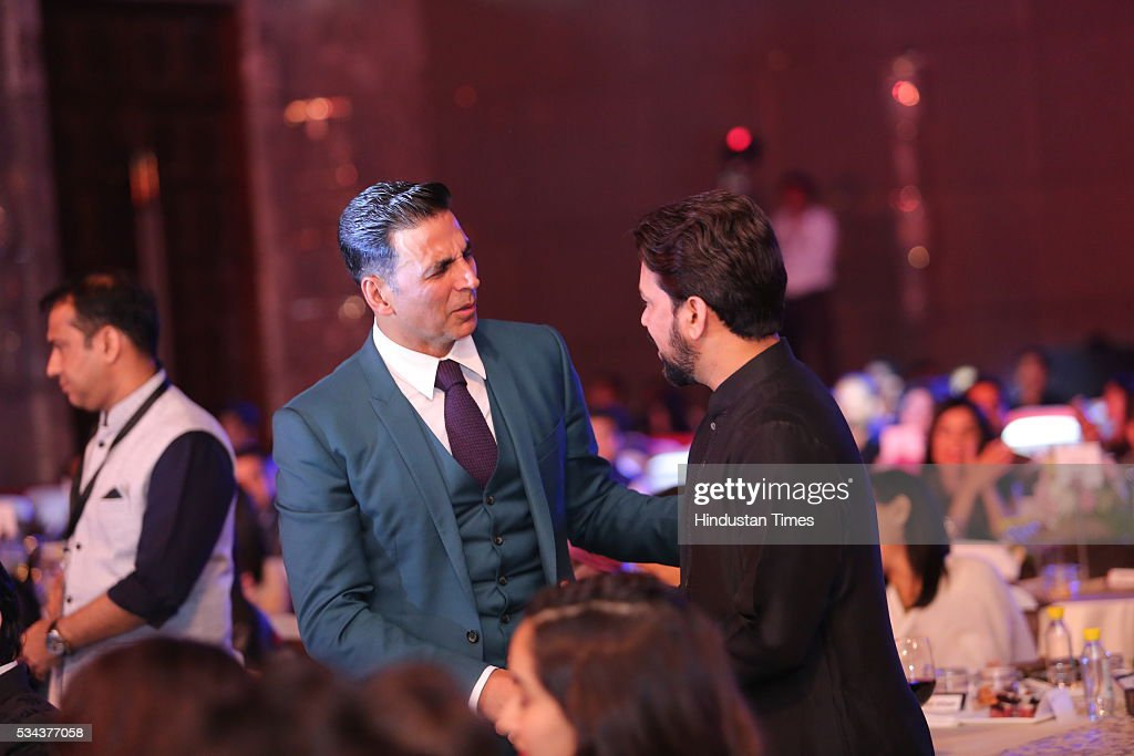 Bollywood actor Akshay Kumar with BCCI President Anurag Thakur during a sixth edition of Hindustan Times Most Stylish Awards 2016 at Hotel JW Marriot, Aerocity on May 24, 2016 in New Delhi, India.