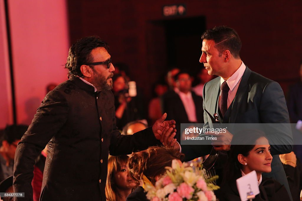 Bollywood actors Akshay Kumar with Jackie Shroff during a sixth edition of Hindustan Times Most Stylish Awards 2016 at Hotel JW Marriot, Aerocity on May 24, 2016 in New Delhi, India.
