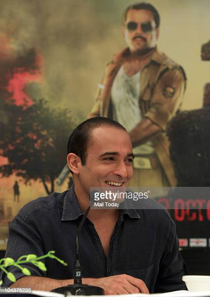 Bollywood actor Akshaye Khanna during a promotional event of their upcoming film 'Aakrosh' in New Delhi on September 21 2010