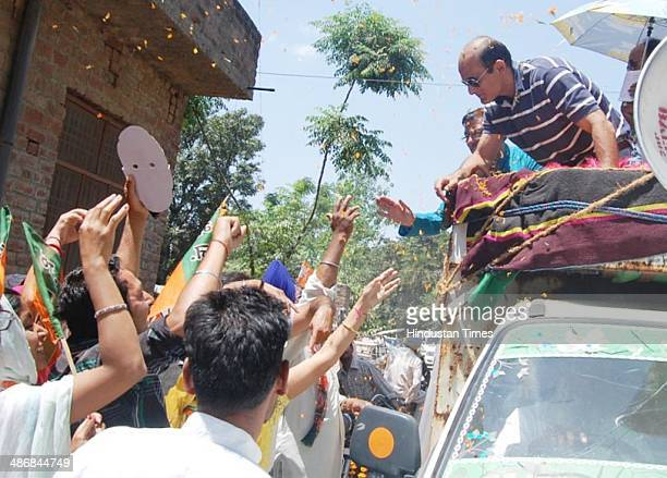 Bollywood actor Akshaye Khanna during an election campaign road show for his father Vinod Khanna BJP Lok Sabha Candidate from Gurdaspur at Batala on...