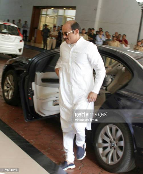 Bollywood actor Akshaye Khanna during the prayer meeting organised for the late Bollywood veteran Vinod Khanna at Worli on May 3 in New Delhi India...