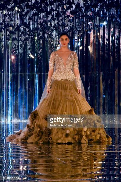 Bollywood actor Alia Bhatt walks for Manish Malhotra during FDCI's India Couture Week 2017 at the Taj Palace hotel on July 30 2017 in New Delhi India