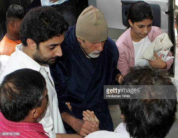 Bollywood actor Amitabh Bachchan accompanied by Abhishek Bachhan and Shweta Nanda at Nanvati Hospital Vile Parle