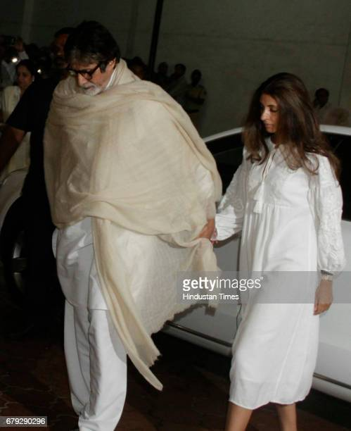 Bollywood actor Amitabh Bachchan and daughter Shweta Bachchan during the prayer meeting organised for the late Bollywood veteran Vinod Khanna at...