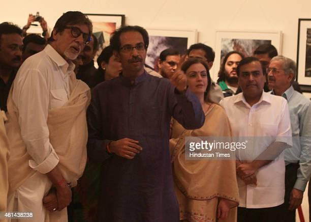 Bollywood actor Amitabh Bachchan businessman Mukesh Ambani and his wife Nita Ambani and Shiv Sena President Uddhav Thackeray at Uddhav Thackeray's...
