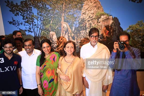 Bollywood actor Amitabh Bachchan businessman Mukesh Ambani and his wife Nita Ambani Shiv Sena President Uddhav Thackeray with his wife Rashmi...
