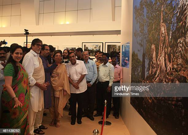 Bollywood actor Amitabh Bachchan businessman Mukesh Ambani and his wife Nita Ambani Shiv Sena President Uddhav Thackeray and his wife Rashmi...