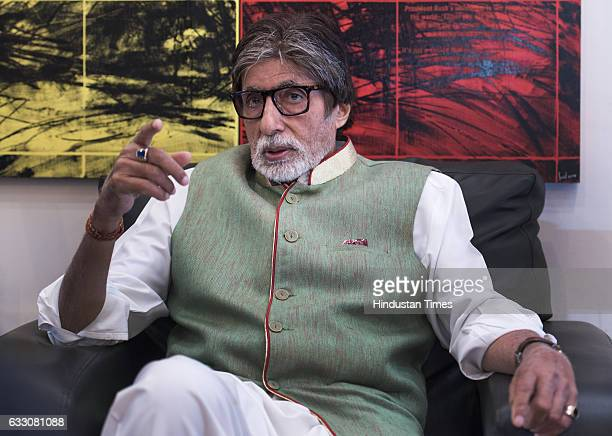 Bollywood actor Amitabh Bachchan interacts with Poet lyricist and screenwriter Javed Akhtar during an interaction session on the completion of 42...