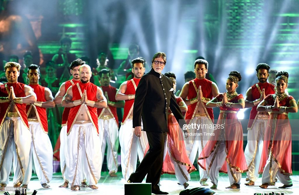 Bollywood actor Amitabh Bachchan performs during a 'Make in India week' cultural programme at Maharashtra Night at Girgaum Chowpatty on February 14, 2016 in Mumbai, India. The fire broke out almost 10 minutes after Maharashtra CM Devendra Fadnavis delivered his speech at the event, during a lavani performance. The stage collapsed under the impact of the fire. However, no casualties were reported and the venue, at the Girgaum Chowpatty area, was evacuated very soon. Around 16 fire tenders put out the fire in 10 minutes. No casualties have been reported yet. Prime Minister Modi had inaugurated the Make in India Week yesterday as a showcase event for the government's flagship manufacturing scheme.