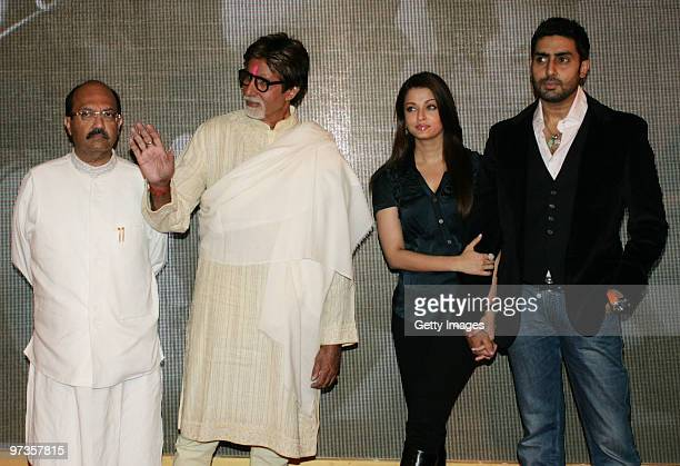 Bollywood actor Amitabh Bachchan with his actor son Abhishek and actress daughterinlaw Aishwarya Rai along with Indian politician Amar Singh attend a...