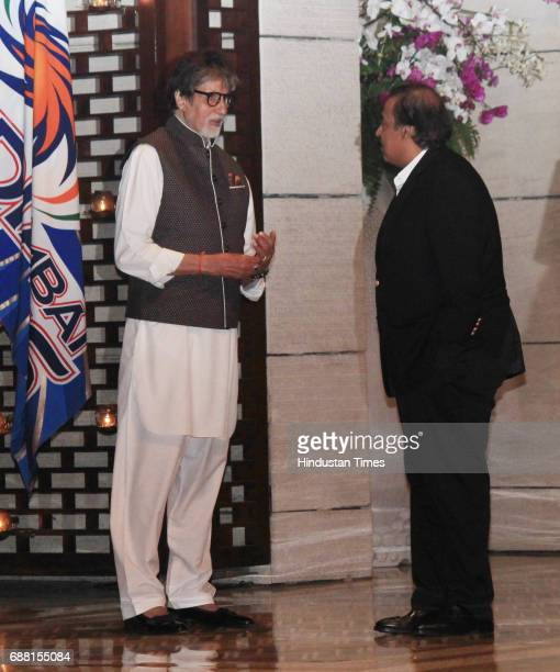 Bollywood actor Amitabh Bachchan with Mumbai Indians onwer and RIL Chairman Mukesh Ambani during the party organised to celebrate Mumbai Indians'...