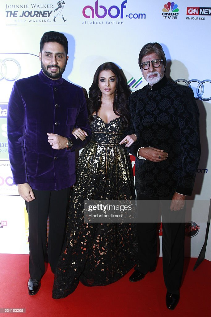 Bollywood actor Amitabh Bachchan with son Abhishek and daughter-in-law Aishwarya Bachchan at Hindustan Times Most Stylish Awards 2016 at hotel JW Marriot, Aerocity on May 24, 2016 in New Delhi, India.