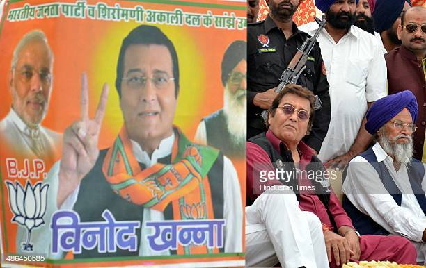 Bollywood actor and BJP Lok Sabha Candidate from Gurdaspur Vinod Khanna during a public meeting for election campaign at Saroopwali Village on April...