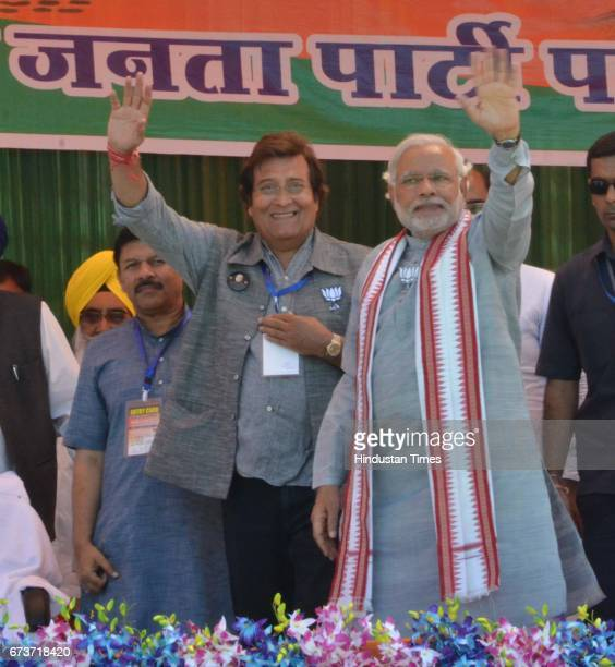 Bollywood actor and BJP Lok Sabha Candidate from Gurdaspur Vinod Khanna and BJP Prime Ministerial Candidate Narendra Modi during an election campaign...