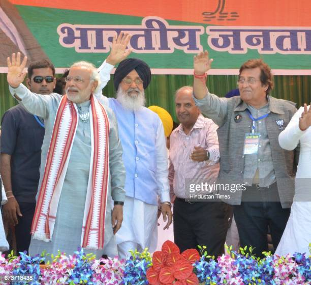 Bollywood actor and BJP Lok Sabha Candidate from Gurdaspur Vinod Khanna Punjab CM Parkash Singh Badal and BJP Prime Ministerial Candidate Narendra...