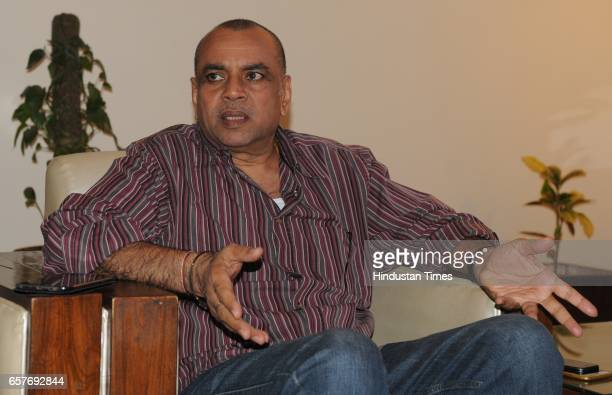 Bollywood actor and BJP MP Paresh Rawal interacting with media at UT Guest House on March 25 2017 in Chandigarh India