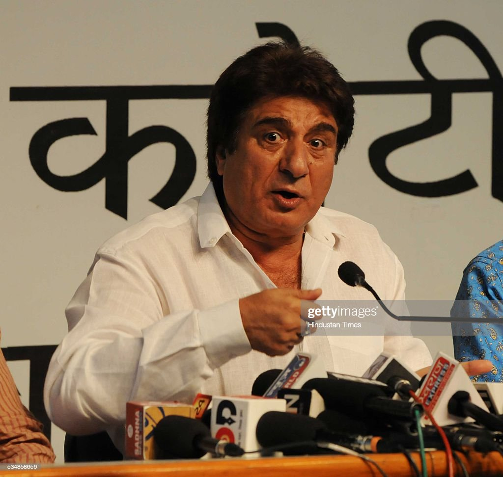Bollywood actor and Congress leader Raj Babbar addressing a press conference on two years performance of the NDA government, on May 28, 2016 in Bhopal, India. Babbar attacked at the NDA government, claiming that it has 'failed on all counts' and is 'organising a tamasha to impress upon people that the country has fast changed during its rule'.