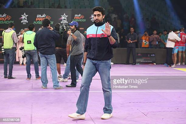 Bollywood actor and Jaipur team owner Abhishek Bachchan during ProKabaddi league match between Jaipur Pink Panthers and Dabang Delhi on August 5 2014...