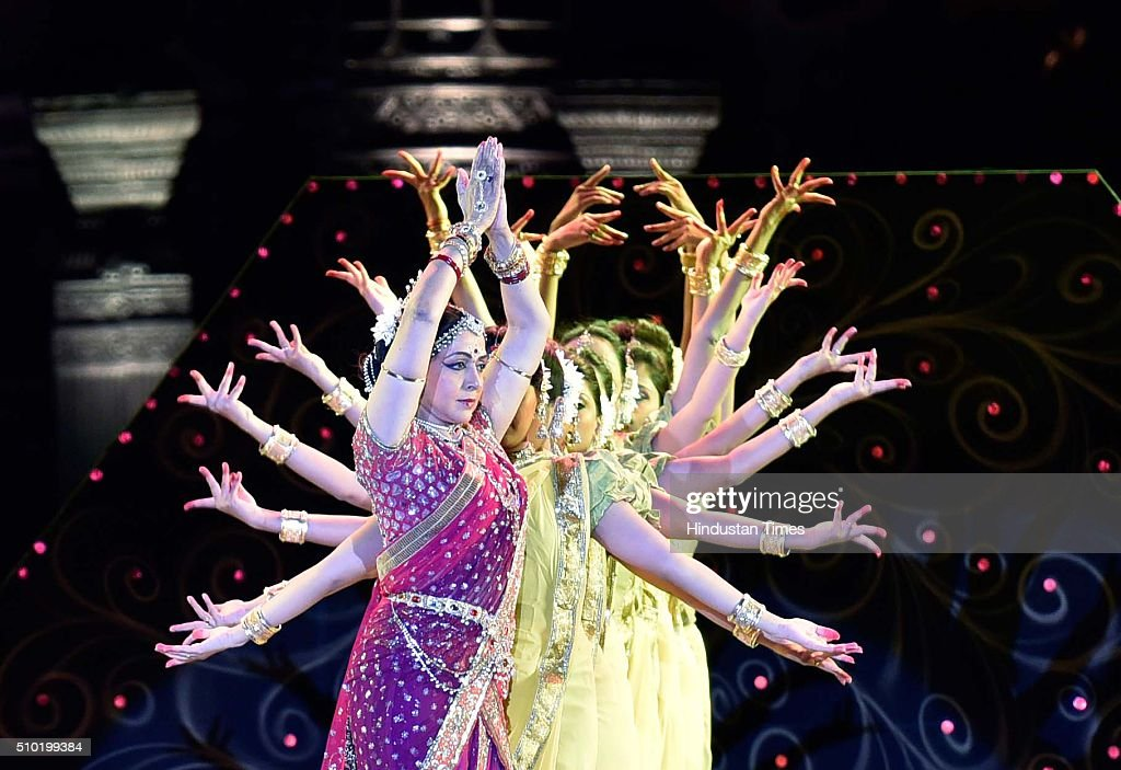 Bollywood actor and MP Hema Malini performs during a 'Make in India week' cultural programme at Maharashtra Night at Girgaum Chowpatty on February 14, 2016 in Mumbai, India. The fire broke out almost 10 minutes after Maharashtra CM Devendra Fadnavis delivered his speech at the event, during a lavani performance. The stage collapsed under the impact of the fire. However, no casualties were reported and the venue, at the Girgaum Chowpatty area, was evacuated very soon. Around 16 fire tenders put out the fire in 10 minutes. No casualties have been reported yet. Prime Minister Modi had inaugurated the Make in India Week yesterday as a showcase event for the government's flagship manufacturing scheme.