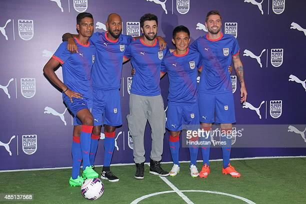 Bollywood actor and Mumbai City FC coowner Ranbir Kapoor along with players Sunil Chhetri Andre Moritz Nicolas Anelka and Subrata Paul during the...