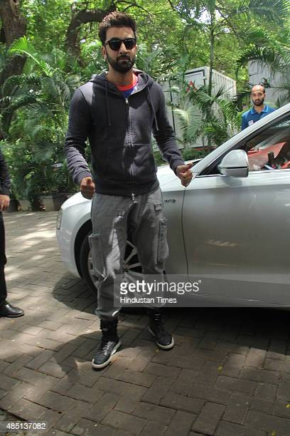 Bollywood actor and Mumbai City FC coowner Ranbir Kapoor arrives for the launch of the new kit for the team on August 22 2015 in Mumbai India