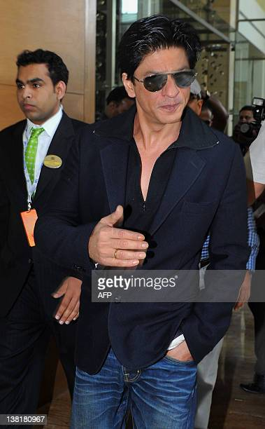 Bollywood actor and owner of Kolkata Knight Riders Shah Rukh Khan arrives for the players' auction for the fifth edition of the Indian Premier League...