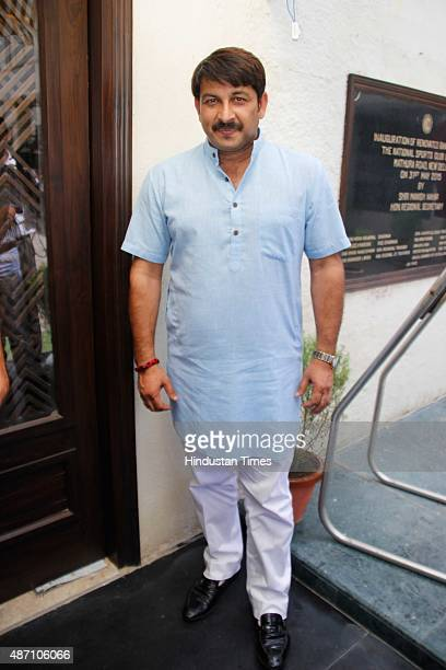 Bollywood actor and politician Manoj Tiwari during a press conference of Lav Kush Ramlila Committee for upcoming 'Ramlila show' on September 1 2015...