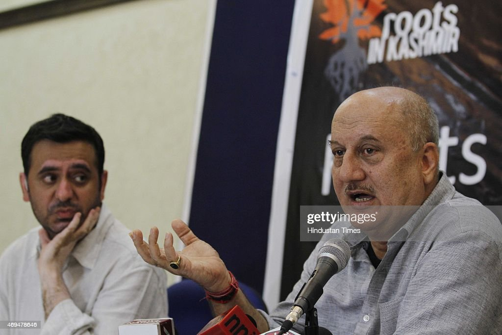 Bollywood actor and social activist Anupam Kher addressing a press conference regarding the return of Kashmiri Pandits to Kashmir on April 12 2015 in...
