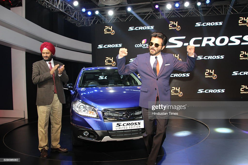 Bollywood actor Anil Kapoor with RS Kalsi, Maruti Suzuki India Executive Director (Marketing and Sales) during the launch of Maruti Suzuki S-Cross at the Auto Expo 2016 on February 5, 2016 in Greater Noida, India.