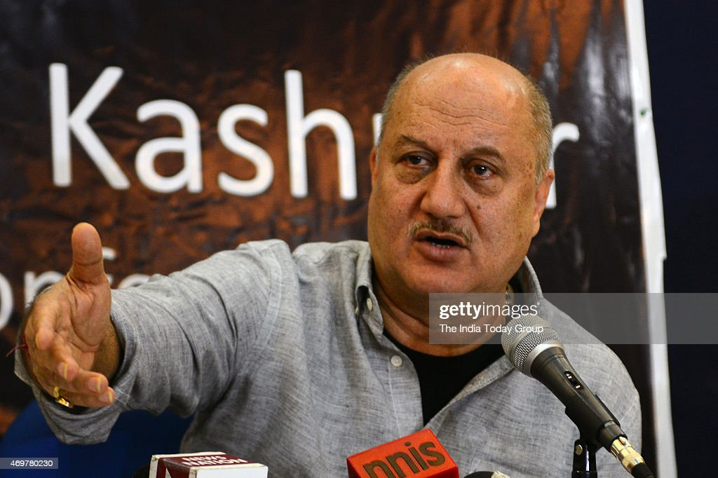 Bollywood actor Anupam Kher addressing a Press Conference regarding the return of Kashmiri Pandits to Kashmir in New Delhi