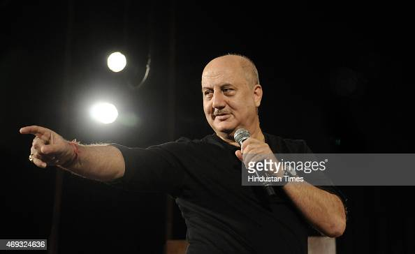 Bollywood actor Anupam Kher during the Ireo Hindustan Times Centerstage Talk Show The AllSeason Theatre Festival on April 11 2015 in Gurgaon India