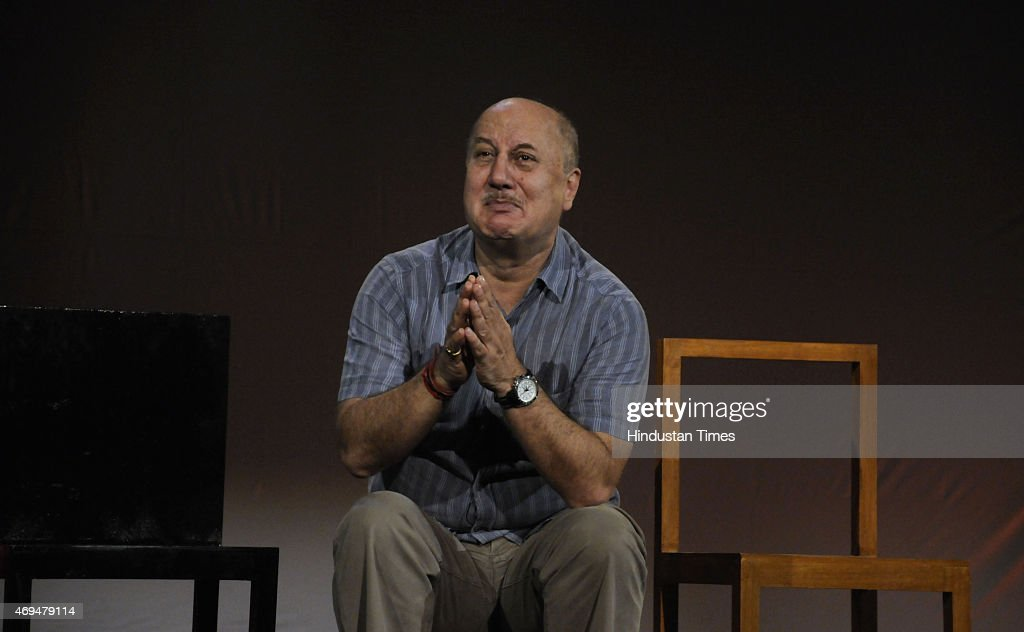 Bollywood actor Anupam Kher performs the street play 'Kuch Bhi Ho Sakta Hai' during the Ireo Hindustan Times Centerstage Talk Show The AllSeason...