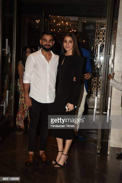 Bollywood actor Anushka Sharma and Cricket team captain Virat Kohli photographed at the engagement ceremony party of Cricketer Zaheer Khan and...