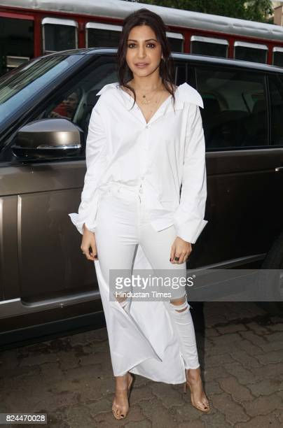 Bollywood actor Anushka Sharma spotted during the launch of a song of the movie 'Jab Harry Met Sejal' on July 26 2017 in Mumbai India