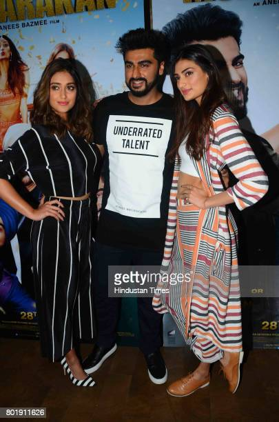 Bollywood actor Arjun Kapoor celebrates his birthday with his Mubarakan costars ILeana Dcruz Athiya Shetty on June 25 2017 in Mumbai India