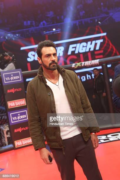 Bollywood actor Arjun Rampal during the Delhi Heroes vs SherePunjab Match of Super Fight League 2017 on February 10 2017 in New Delhi India