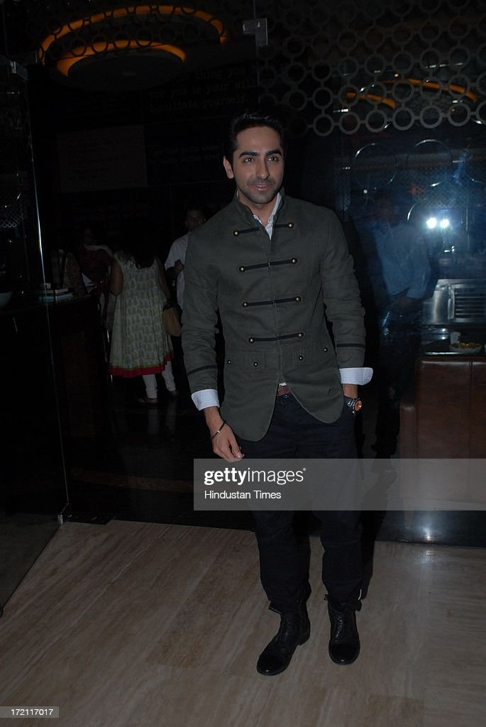 Bollywood actor Ayushmann Khurrana during the IIFA 2013 Press Conference at PVR Andheri on July 1, 2013 in Mumbai, India. At a press conference on Monday, July 1, the International Indian Film Academy (IIFA) announced the performances that will be held at their annual weekend awards ceremony in Macau. Boman and Vir will host the IIFA Rocks event, while Shah Rukh Khan and Shahid Kapoor will compere the IIFA awards ceremony.