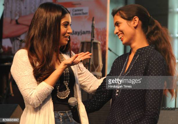 Bollywood actor Bhumi Pednekar with youngest sarpanch of India Jabna Chauhan during the 4th season finale of Hindustan Times Friday Jam to promote...