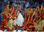 Bollywood actor Bipasha Basu perform dance during the official launch of the Subrata Roy Sahara Stadium on April 8 2012 in Pune India The newly...