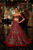 Bollywood actor Deepika Padukone walks on the ramp for the Indian fashion Designer Manish Malhotra on day 1 of FDCI India Couture Week 2016 at The...