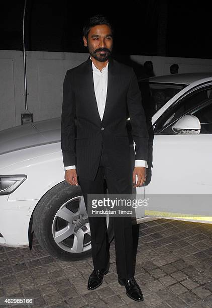 Bollywood actor Dhanush during the special screening of film Shamitabh at PVR Juhu on February 5 2015 in Mumbai India