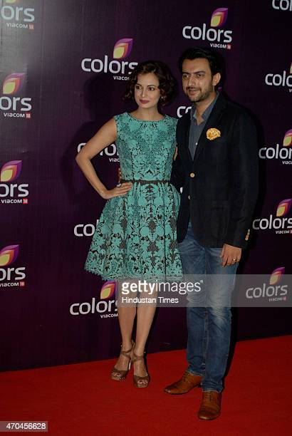 Bollywood actor Dia Mirza along with her husband Sahil Sangha at the Colors Leadership Awards 2015 on April 18 2015 in Mumbai India
